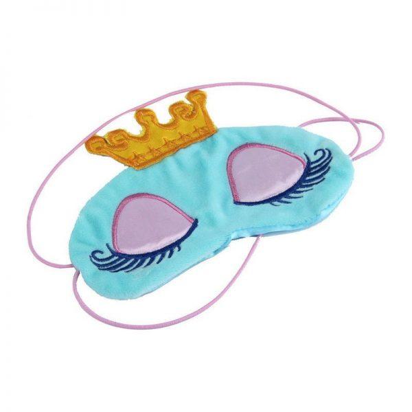 Маска для сна с короной голубая