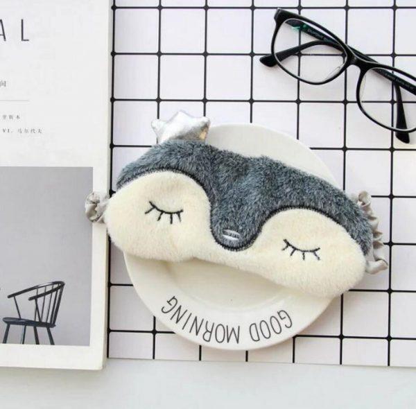 меховая маска для сна пингвин