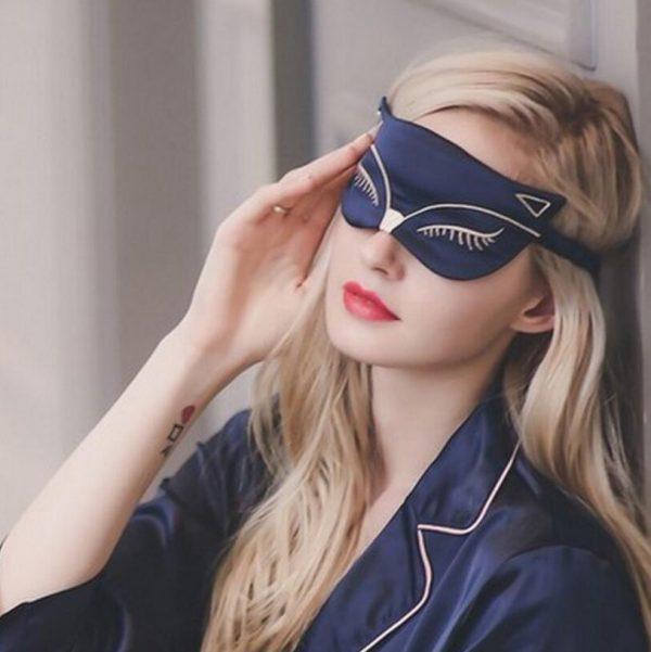 """Шелковая маска для сна с вышивкой """"Кошка"""" синяя"""
