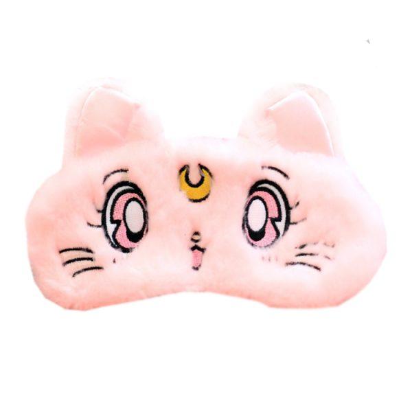 """Меховая маска для сна """"Кошка"""" розовая. С охлаждающей вставкой"""