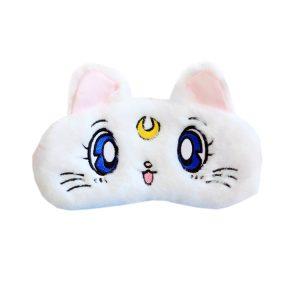 """Меховая маска для сна """"Кошка"""" белая. С охлаждающей вставкой"""