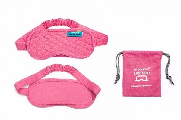 Хлопковая маска для сна розовая в сумочке
