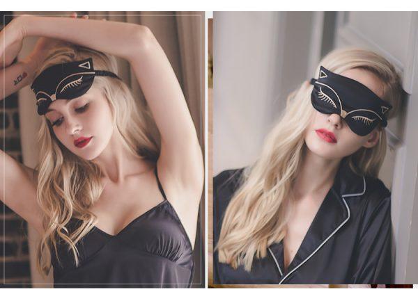 """Шелковая маска для сна с вышивкой """"Кошка"""" черная"""