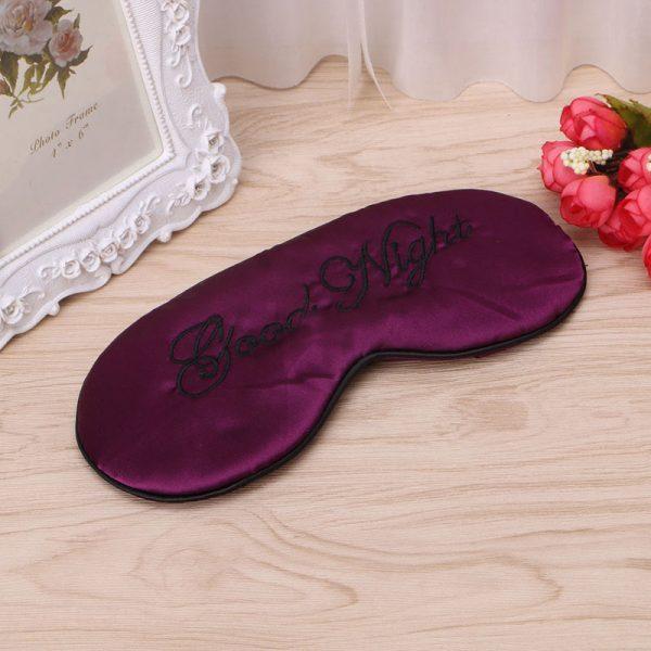 Шелковая маска для сна пурпурная «Good night»