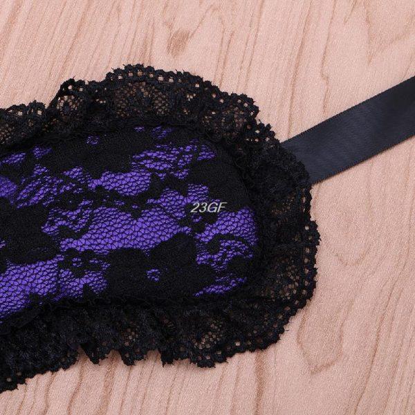Кружевная маска для сна сиреневая из искусственного шелка