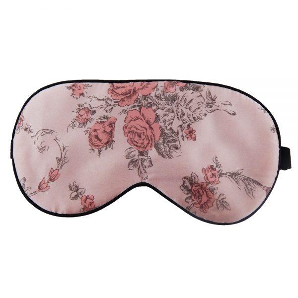 Шелковая маска для сна розовая с цветами