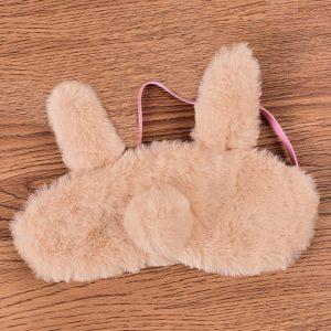 """Меховая маска для сна """"Кофейный ушастый кролик"""""""