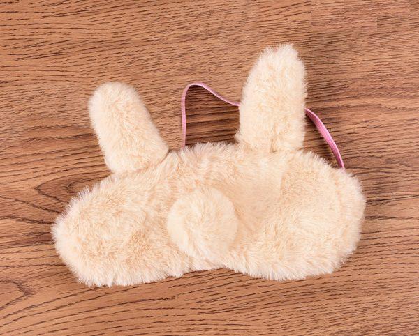 """Меховая маска для сна """"Бежевый ушастый кролик"""""""