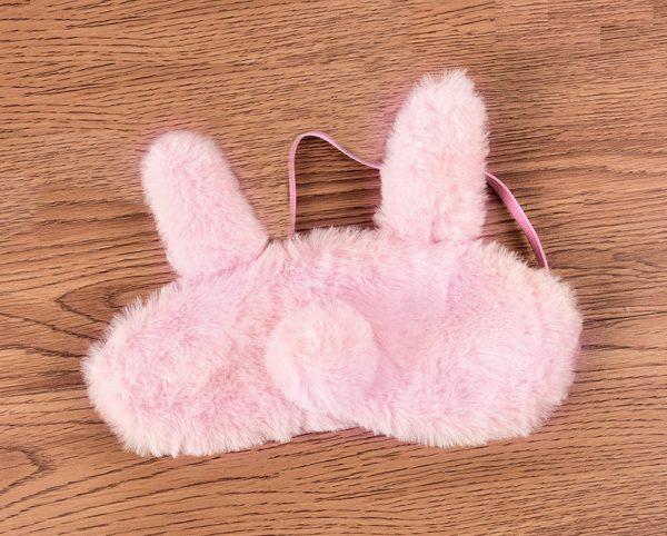 """Меховая маска для сна """"Розовый ушастый кролик"""""""