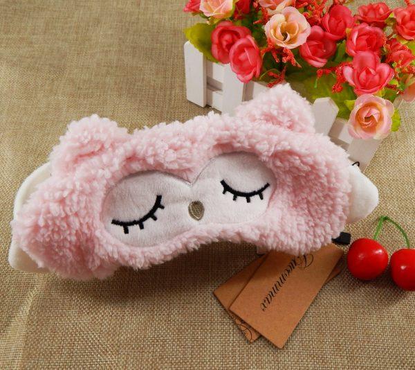 """Маска для сна """"Овечка"""" розовая шерстяная"""