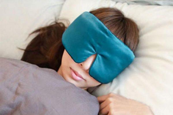Шелковая маска для сна (повязка) морская волна большая