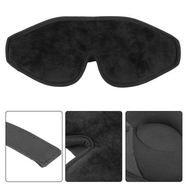 3D маска для сна большая мягкая черная