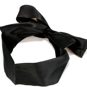 Повязка на глаза (лента) черная из искусственного шелка