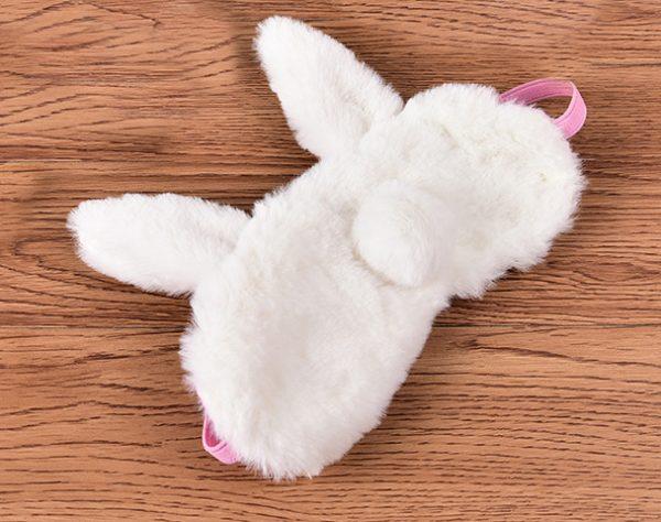 "Меховая маска для сна ""Белый ушастый кролик"""
