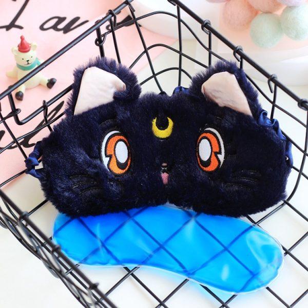 """Меховая маска для сна """"Кошка"""" черная. С охлаждающей вставкой"""