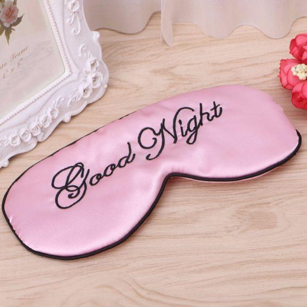 Шелковая маска для сна розовая «Good night»