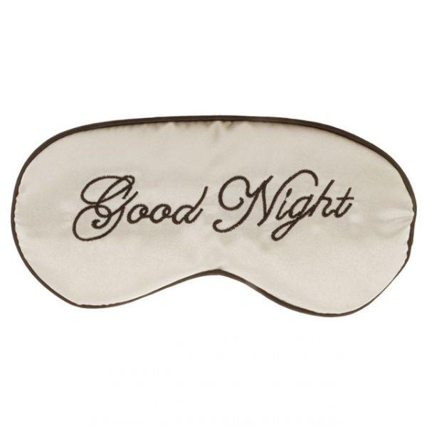 Шелковая маска для сна бежевая «Good night»