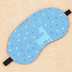 Маска для сна из хлопка и льна с голубым рисунком
