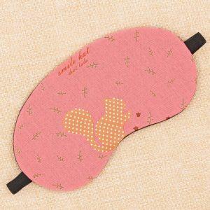 Маска для сна из хлопка и льна с розовым рисунком