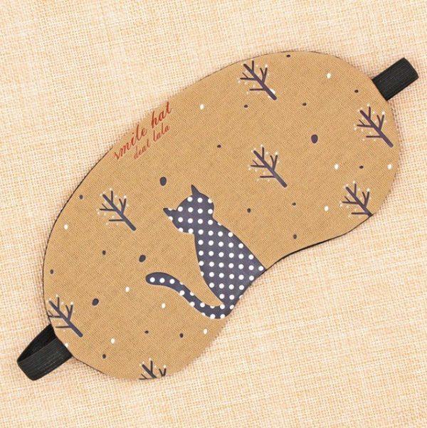 Маска для сна из хлопка и льна с бежевым рисунком