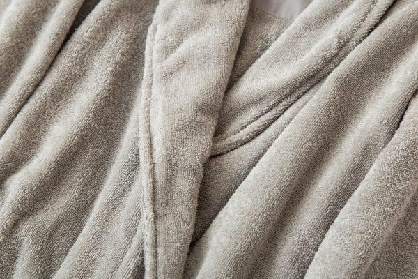 Халат хлопковый махровый серый классический