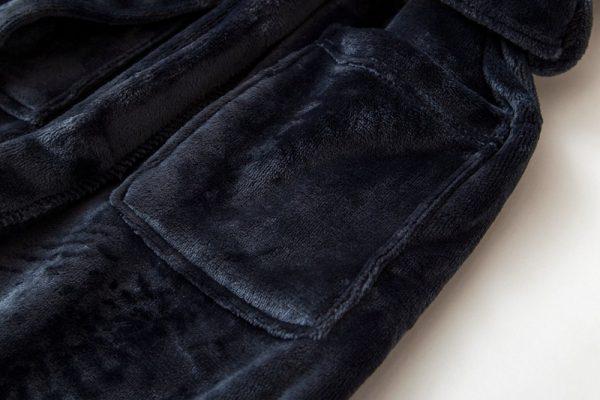 Халат велюровый темно-синий классический