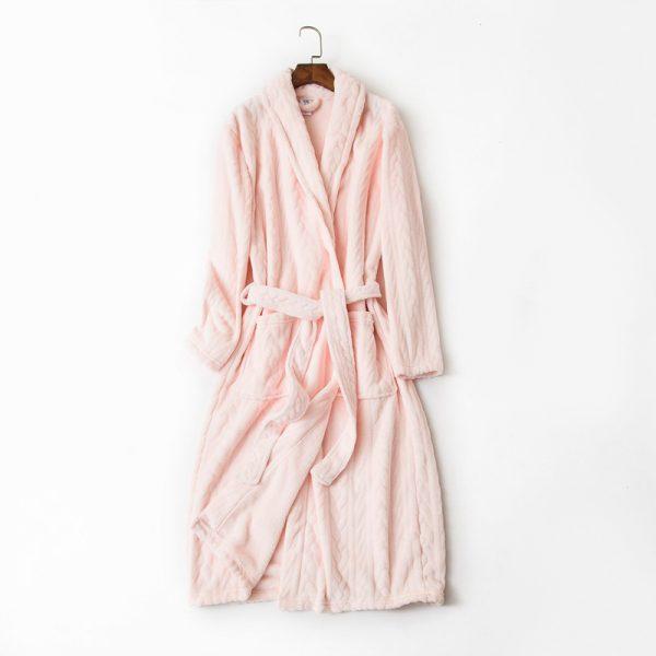 Халат велюровый розовый классический «Косы»