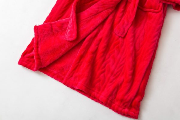 Халат велюровый красный классический «Косы»
