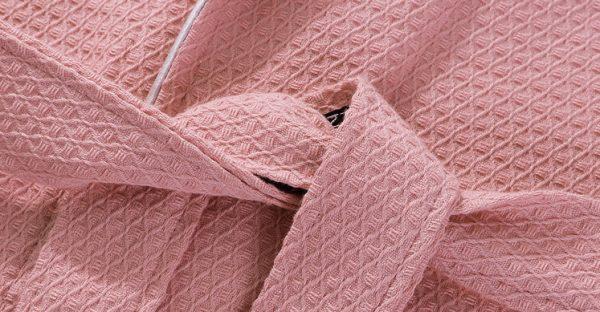 Халат хлопковый вафельный розовый классический