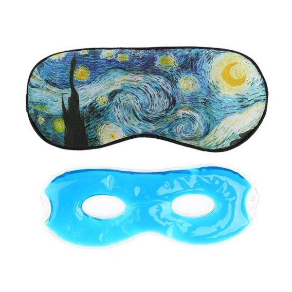 """Шелковая Маска для сна с принтом в стиле Ван Гога """"Звездная ночь"""" с охлаждающей вставкой"""