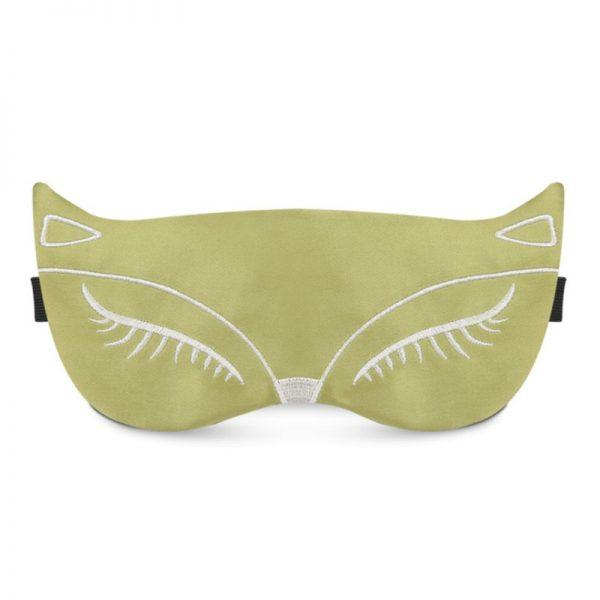 Шелковая маска для сна с вышивкой «Лиса» светло-зеленая