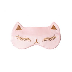 """Шелковая маска для сна с вышивкой """"Кошка"""" розовая"""