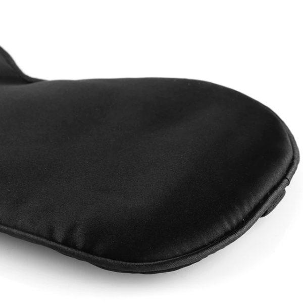 Шелковая маска для сна черная увеличенной ширины