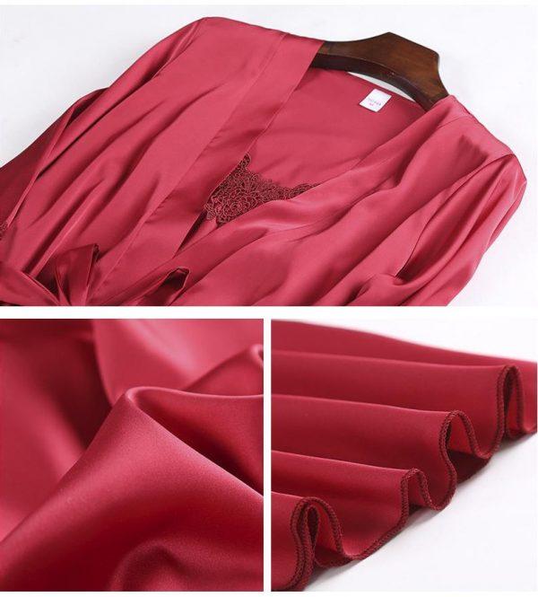 комплект халат и сорочка красный