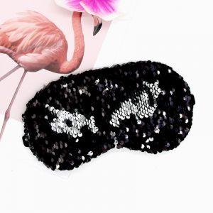 Маска для сна с пайетками серебристо-черная