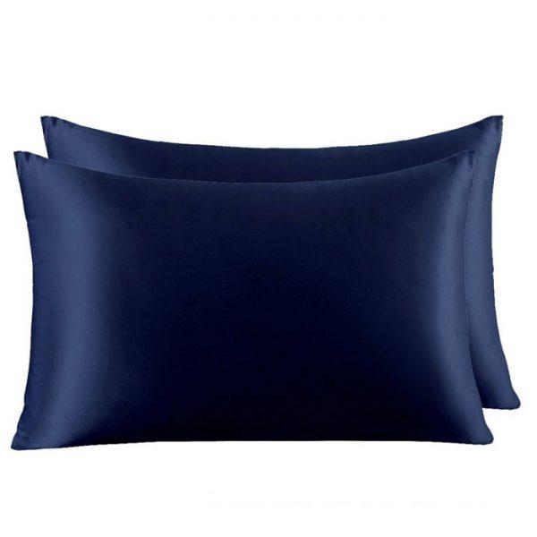 Две наволочки из натурального шелка темно-синие