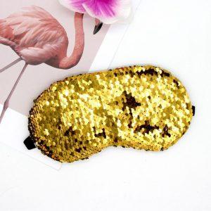 Маска для сна с пайетками серебристо-золотая
