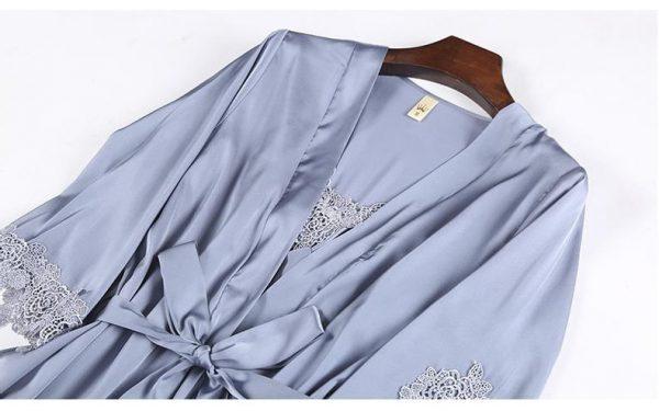 Комплект (халат и сорочка) серо-голубой