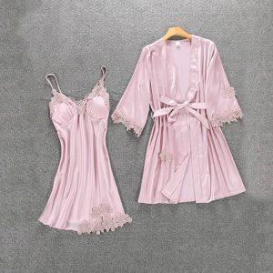 Комплект (халат и сорочка) светло-розовый - M