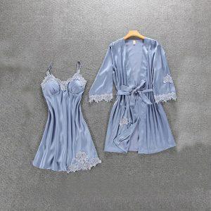 Комплект (халат и сорочка) серо-голубой - M
