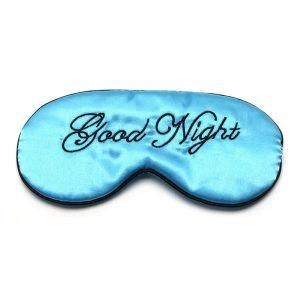 Шелковая маска для сна голубая «Good night»