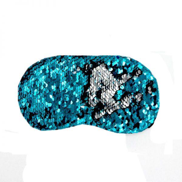 Маска для сна с пайетками серебристо-голубая