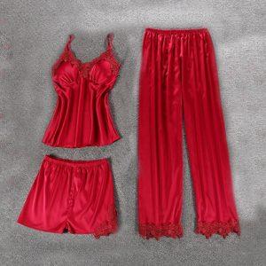 Комплект (майка, брюки и шорты) красный - S