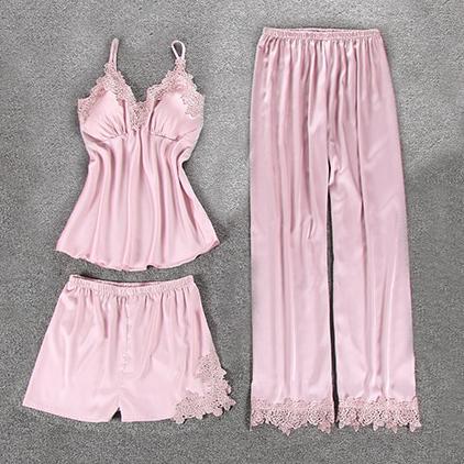 Комплект (майка, брюки и шорты) светло-розовый - S