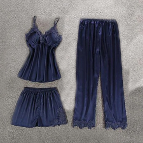 Комплект (майка, брюки и шорты) темно-синий - S