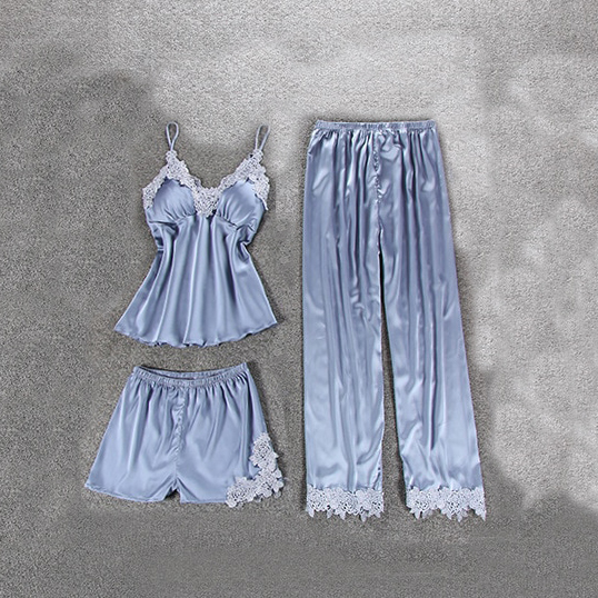 Комплект (майка, брюки и шорты) серо-голубой - S