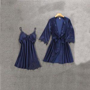 Комплект (халат и сорочка) темно-синий - M