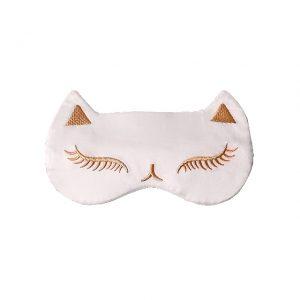 """Шелковая маска для сна с вышивкой """"Кошка"""" серая"""