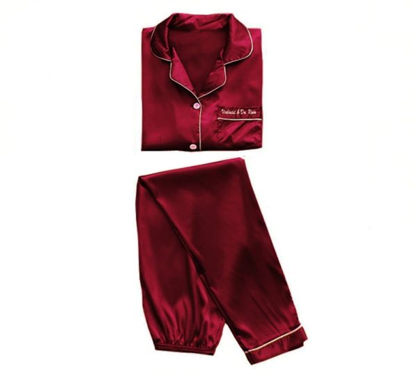 Пижама (рубашка и брюки) бордовая - M