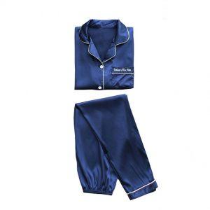 Пижама (рубашка и брюки) темно-синяя - M